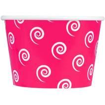 [50 Count] Valentine's Day Pink Paper Ice Cream Cups - 8 oz Swirls And Twirls Dessert Bowls Perfect For Yummy Treats! Frozen Dessert Supplies