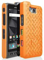 Sonim XP8 Case, Nakedcellphone [Orange] Slim Ribbed Rubberized Hard Shell Cover [with Kickstand] for Sonim XP8 Phone (XP8800)