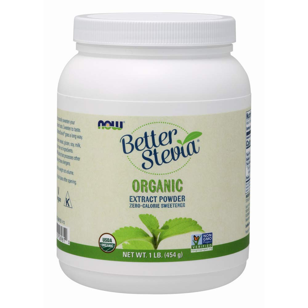 NOW Foods, Certified Organic Better Stevia, Extract Powder, Zero-Calorie Sweetener, Certified Non-GMO, 1-Pound