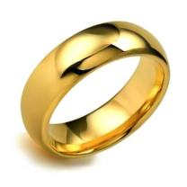 Bling Jewelry Plain Simple Dome Couples Titanium Wedding Band Polished 14K Gold Plated Ring for Men for Women Comfort Fit 8MM