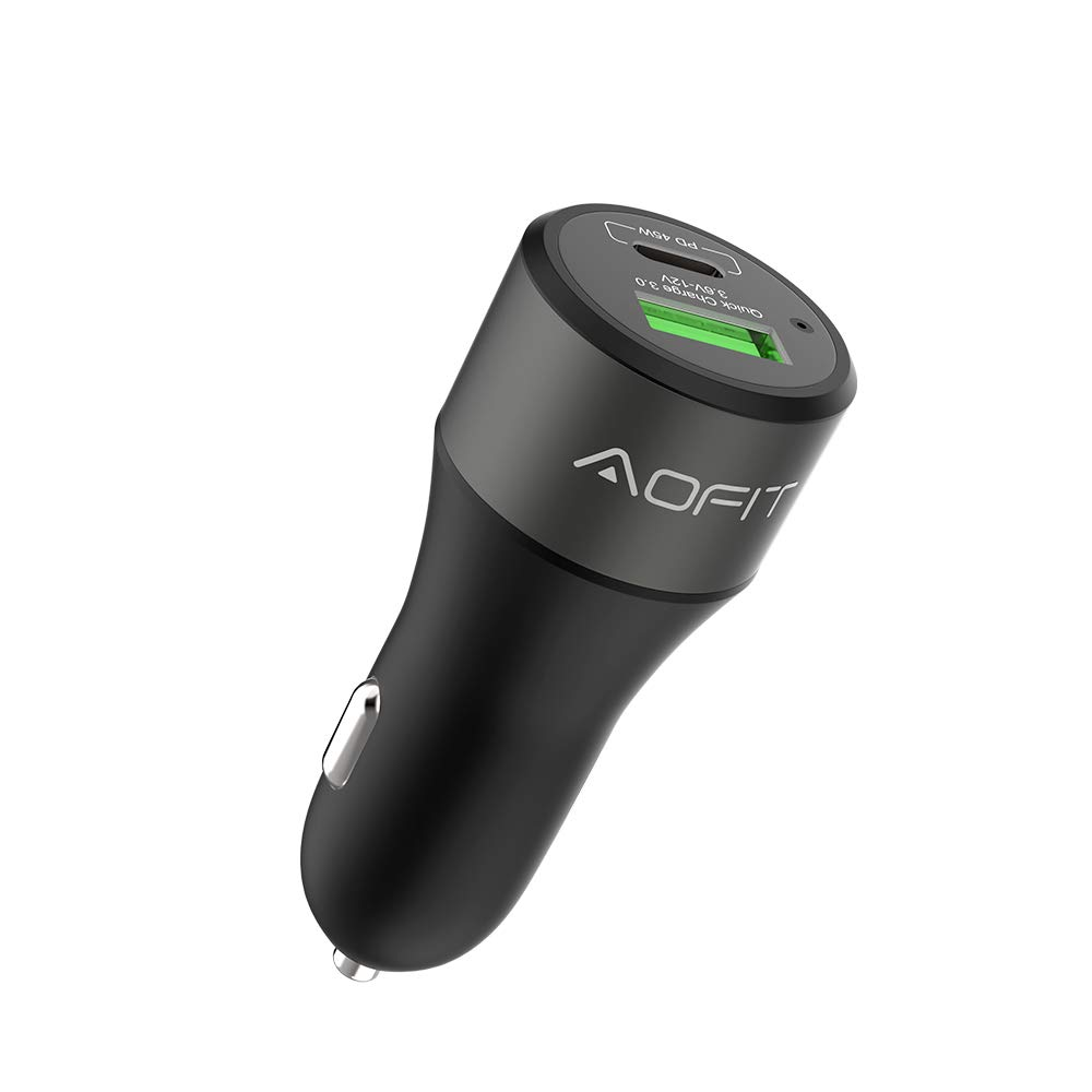USB C Car Charger Adapter, AOFIT 63W Dual Port with 45W PD Port and 18W Quick Charge 3.0 Port, Compatible with iPhone, MacBook Pro, iPad Pro, and Mobile Devices, Travel Use