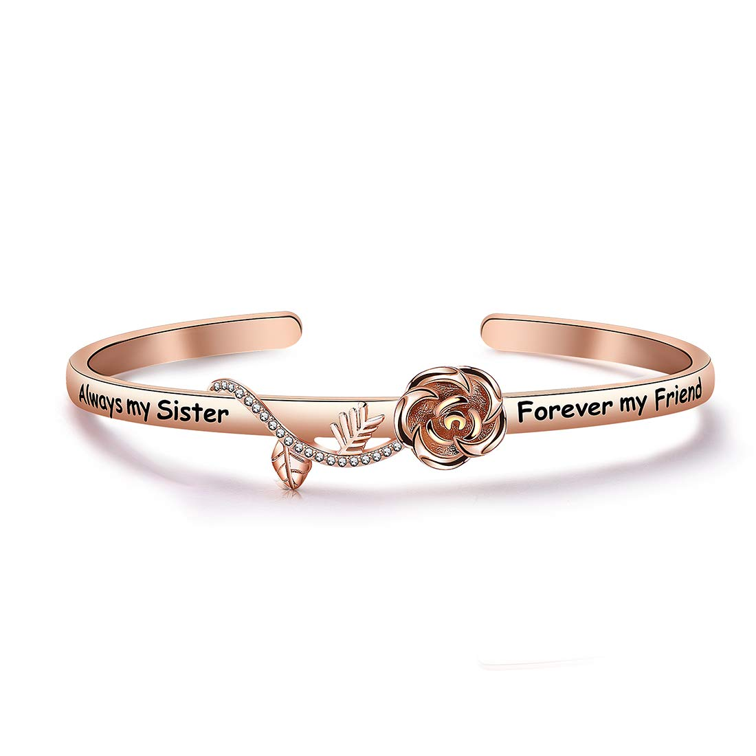 HOLLP Best Friend Bracelet Sister Gift Always My Sister Forever My Friend Cuff Bracelet with Rose Flower Gift for Sisters Friendship Jewelry