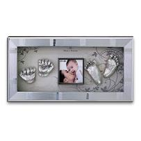 Momspresent Baby Hand Print and Foot Print Deluxe Casting kit with Silver Frame6 Silver