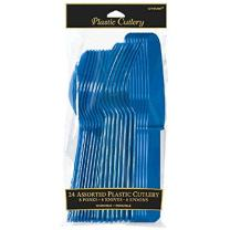 Assorted Plastic Cutlery | Bright Royal Blue | Pack of 24| Party Supply
