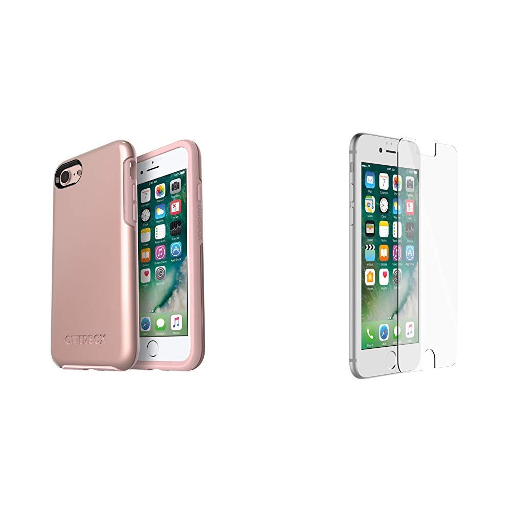 OtterBox SYMMETRY SERIES Case for iPhone 8 & iPhone 7 (NOT Plus) - Retail Packaging - ROSE GOLD (PALE PINK/ROSE GOLD GRAPHIC) & ALPHA GLASS SERIES Screen Protector for iPhone 6/6s/7/8 - CLEAR