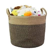 "14"" x 12"" Large Storage Basket Hemp Rope Baskets Woven Laundry Basket for Toys,Clothes, Blankets,Collapsible Storage Organizer Basket"