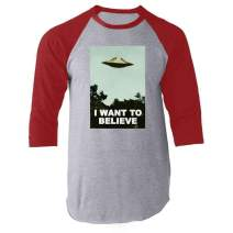 I Want to Believe UFO Aliens TV Retro 90s Red 2XL Raglan Baseball Tee Shirt