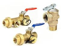 """Tankless Water Heater Flush Kit 3/4"""" Lead Free Isolation Service Valves 3/4-Inch Temperature Pressure Relief Valve for Hot Water Heaters Single Handle Full Port IPS Isolator Brass NSF-61"""