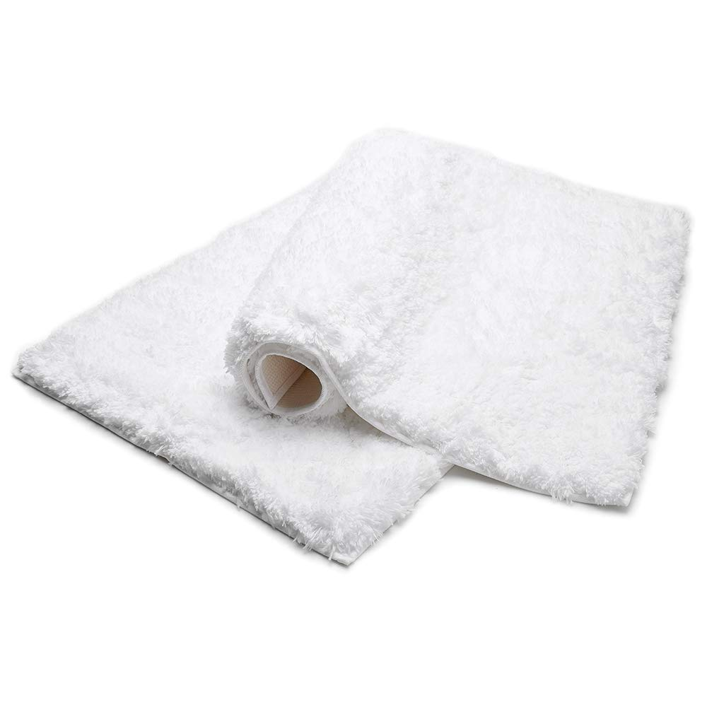 Bonzy Home Bathroom Rug Non Slip Bath Mat 32 x 20inch Water Absorbent Soft Microfiber Shaggy Bathroom Mat Machine Washable Bath Rug Thick Plush Rugs for Shower 1pc (White)