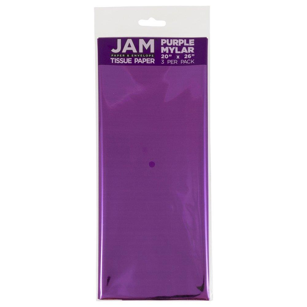 JAM PAPER Tissue Paper - Purple Mylar - 3 Sheets/Pack