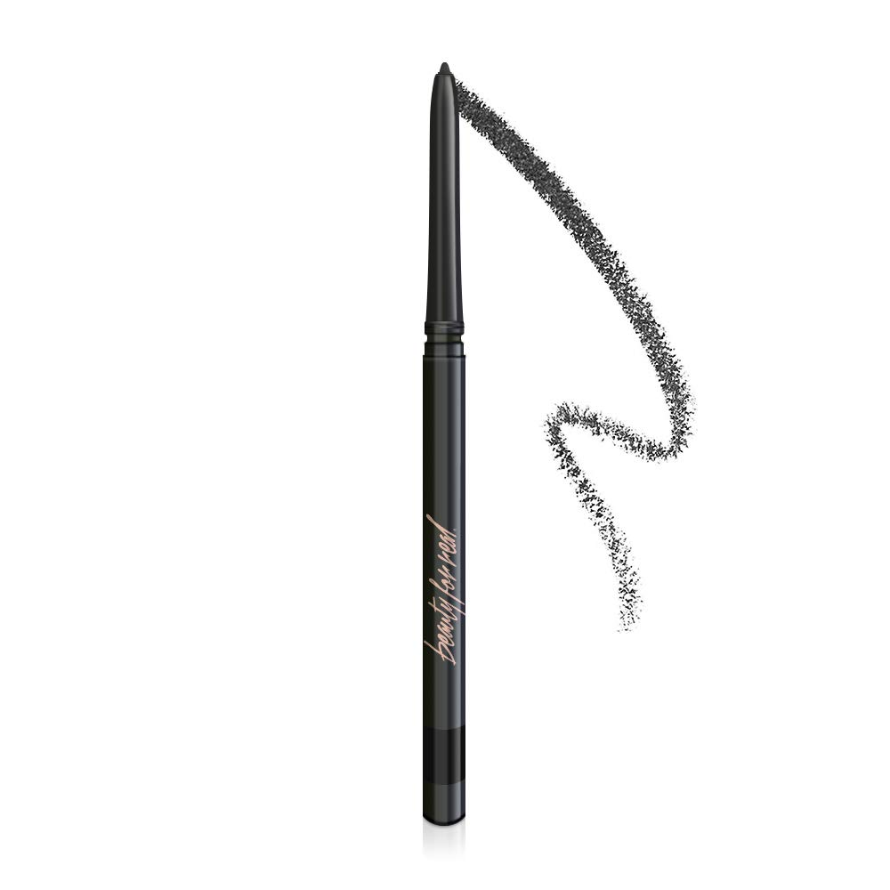 Beauty For Real I-Line 24-7 Waterproof Gel Eyeliner, Night Fever, Black with Rose Gold Sparkles, Cruelty Free Blendable Gel Formula for Precision Application, 0.01oz