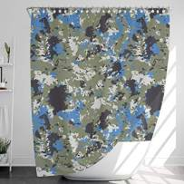 INNObeta Fabric Shower Curtain with 12 Hooks, Water-Repellent/Waterproof, Heavy-Duty, No Liner Needed, Bathroom Decor, 72 x 72 Inches, Camouflage