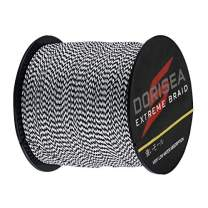 Dorisea Extreme Braid 100% Pe Multi-Color(Black&White) Braided Fishing Line 109Yards-2187Yards 6-550Lb Test Fishing Wire Fishing String Incredible Superline
