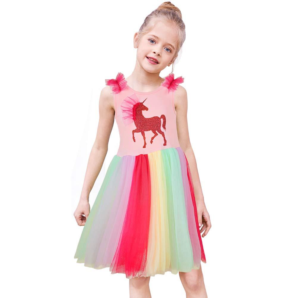 MHJY Girls Unicorn Dress Rainbow Tulle Skirt Birthday Party Tutu Dress Unicorn Outfits 2-6Y