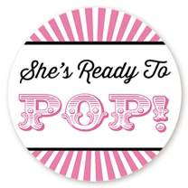 Circus Themed Ready to Pop Stickers   48 Stickers   Ready To Pop Baby Shower Stickers for Popcorn   1.67 Inches   Ready to Pop Stickers for Boy or Girl (Pink)