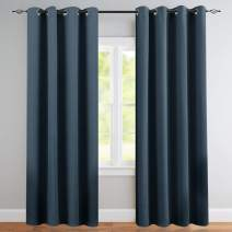 Vangao Room Darkening Curtain 84 inches Length Window Treatment Blackout Drape for Bedroom, Grommet Top, 52Wx84L-inch, 1 Panel, Navy Blue