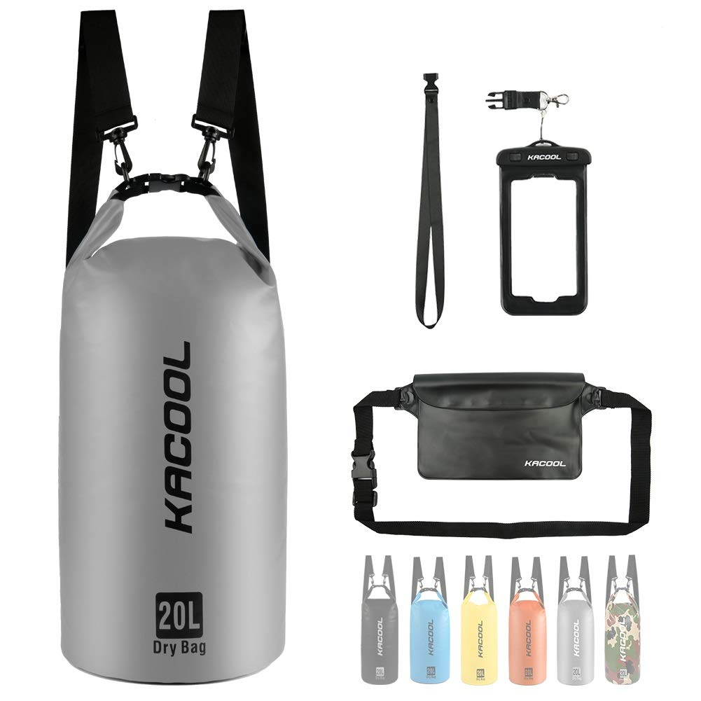 KACOOL Waterproof Dry Sack Bag Floating Lightweight Backpack Water-Resistant Beach Bag with Detachable Strap, Waterproof Waist Pouch and Phone Case (Perfect for Kayaking/Canoeing/Rafting/Boating)