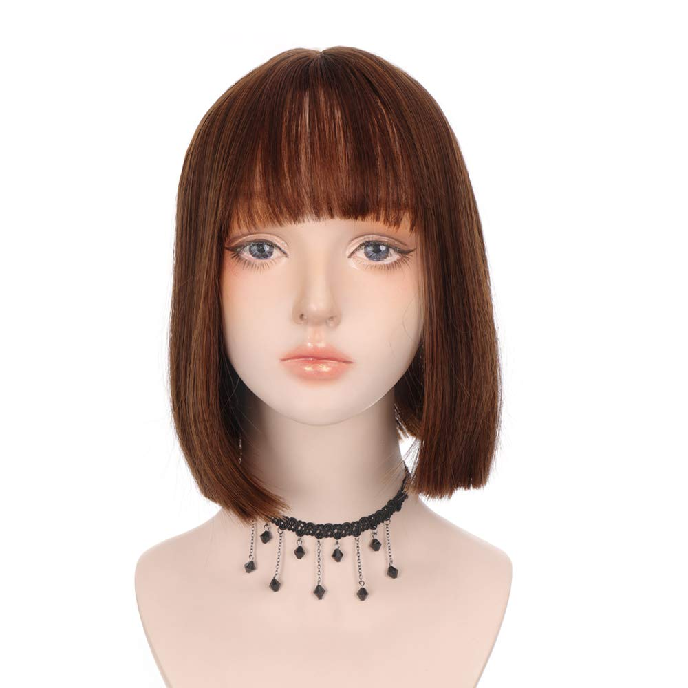 Short Straight Cosplay Wig With Bangs For Women Girl Charming Synthetic Anime Costume Party Lolita Wigs 9.8 Inch (Dark Brown)