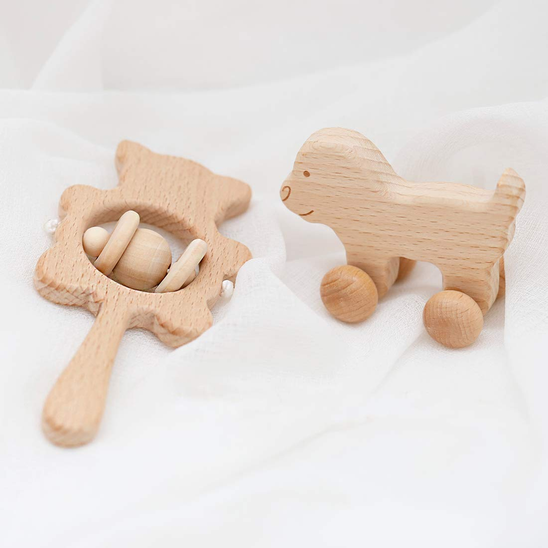 Promise Babe 2pc Set Organic Wooden Teething Toy Bear Rattle with Bell Montessori Toy Eco Friendly Infant Toy Newborn Gift