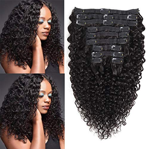 Rolisy Jerry Curly Clip in Human Hair Extensions,Real Thick Soft 8A Grade Human Hair for Women,Jerry Curly Hair Clip ins,Natural Black Color,10 Pcs,120 Gram,20 Inch