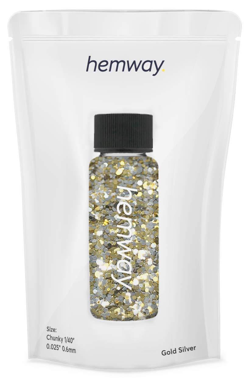 "Hemway Glitter Tube 12.8g / 0.45oz Extra Chunky 1/40"" 0.025"" 0.6MM Premium Sparkle Gel Nail Dust Art Powder Makeup Pigment Eyeshadow Face Body Eye Cosmetic Safe -(Gold/Silver)"