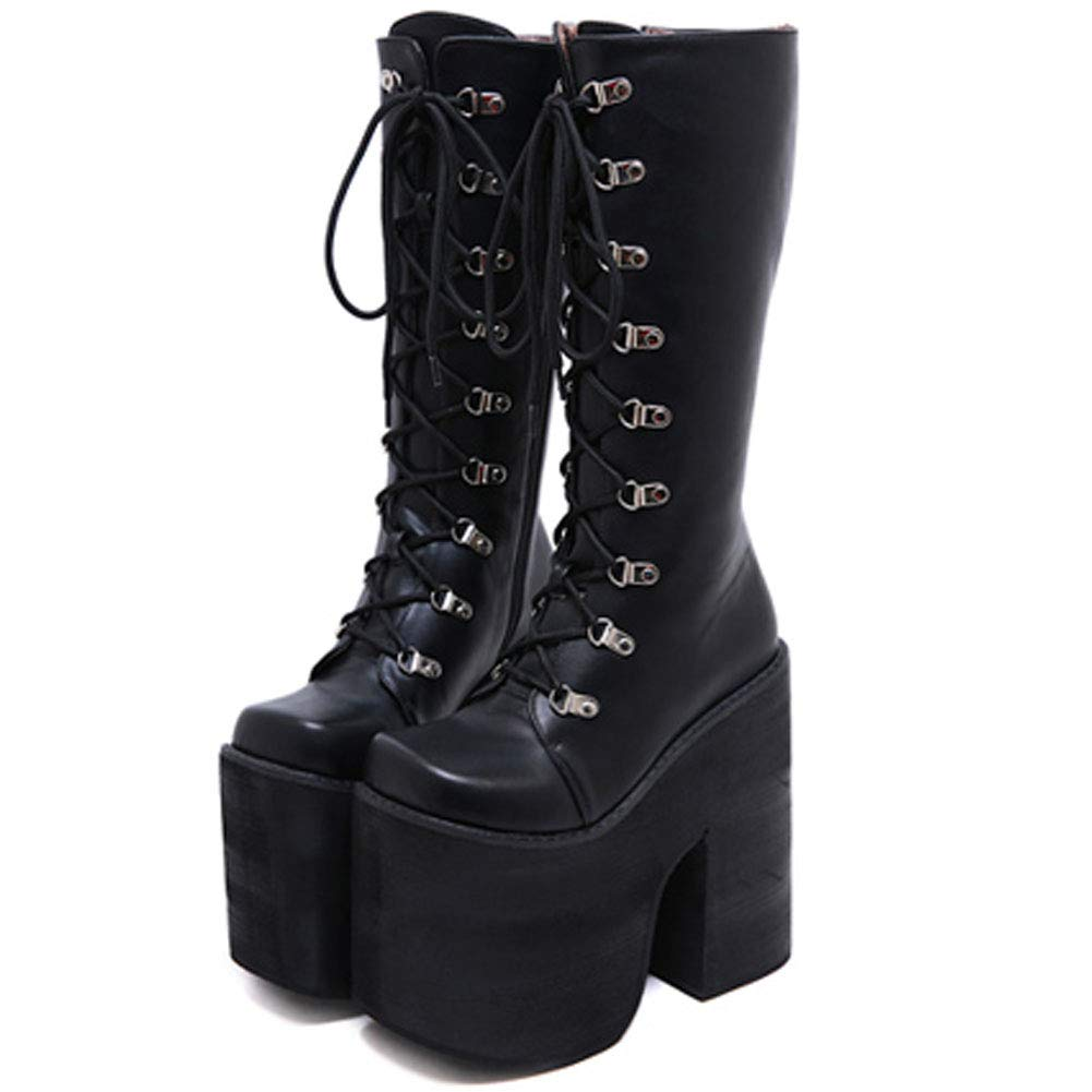 CYNLLIO Chunky High Heel Platform Combat Boots Lace up Goth Boots Wide Calf Knee High Tall Boots Cosplay Costume