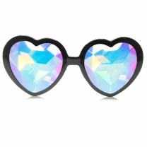 GloFX Black Heart Shaped Kaleidoscope Glasses - festival rave edm concert effect plur firework glasses