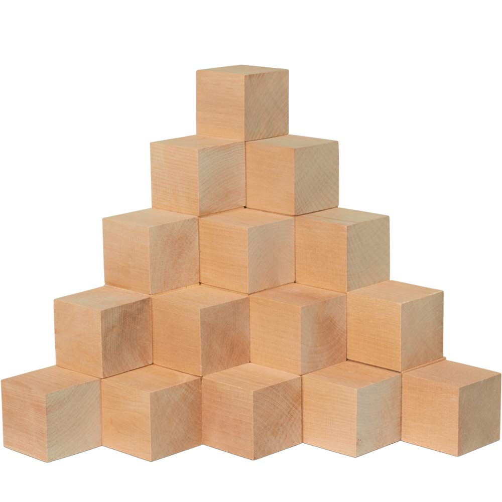 2 Inch Wooden Cubes, Bag of 24 Unfinished Hardwood Square Birch Blocks, Baby Shower Decorating Cubes, Puzzle Making and DIY Craft Projects(2 Inch Wood Cubes). by Woodpeckers