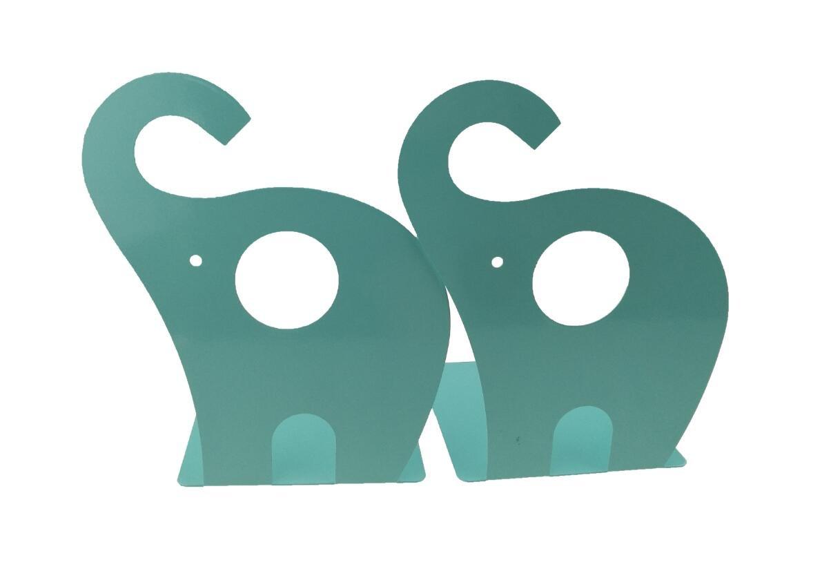 Winterworm Cartoon Cute Elephant Pattern Nonskid Metal Office Desk Bookends (Blue Green)