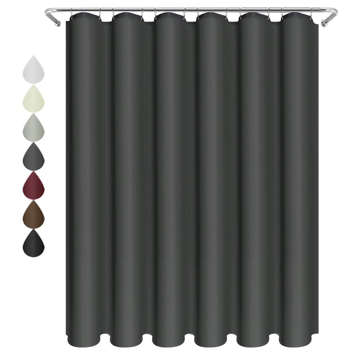 Eforgift Polyester Bathroom Curtain Water Glides Off Thick Solid Design, Modern Fabric Curtain Shower Easy Care, XX Long 72-inch x 86-inch Hooks, Dark Gray