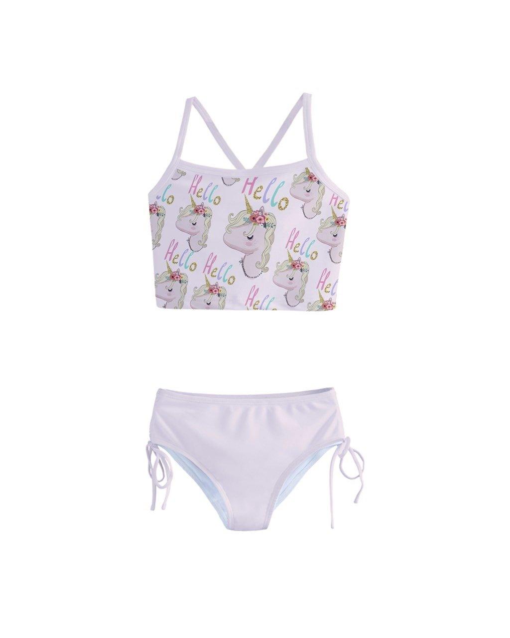 PattyCandy Little/Toddler Girls Girly Swimwear Unicorn Princess Rainbows Kids Tankini Swimsuit Bikini Set
