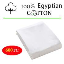 """100% Egyptian Cotton 1 Fitted Sheet Only, 600 Thread Count King Size Fitted Sheet White, 16"""" Deep Pocket, Colorfast Dyes & Shrink Resistant, Soft & Silky Sateen Weave for Home & Hotel"""