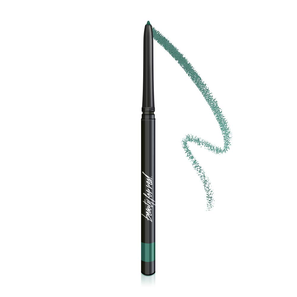 Beauty For Real I-Line 24-7 Waterproof Gel Eyeliner, Jade Green, Rich Teal with Gold Shimmer, Cruelty Free Blendable Gel Formula for Precision Application, 0.01oz