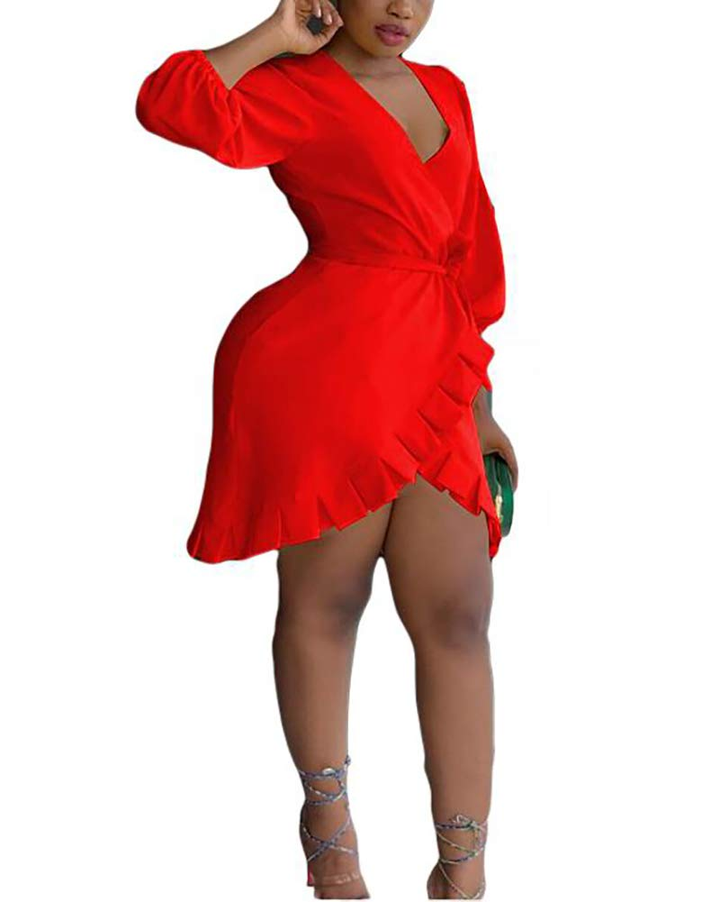 Halfword Sexy Short Dresses for Women - V Neck 3/4 Sleeve Wrap Ruffle Hem Cute Cocktail Party Mini Dress Red
