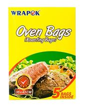 WRAPOK Oven Cooking Turkey Bags Small Size Ribs Baking Roasting Bags No Mess For Chicken Meat Ham Poultry Fish Seafood Vegetable - 5 Bags (14 x 17 Inch)