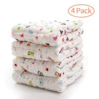 KOROTUS Muslin Baby Burp Cloths Washcloths Face Towels 4-Pack Extra Large 13.77X13.77 inches 12 Layers Super Absorbent Premium Soft Natural for Sensitive Skin Baby 100% Organic Cotton