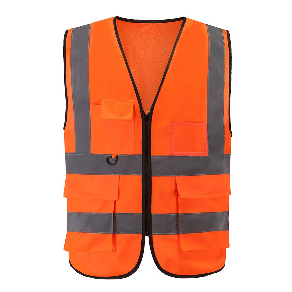 High Visibility Safety Vest Reflective, A-SAFETY, 3M Multi Pockets Working Vest, Working Uniform, Zipper Front,ANSI/ISEA Standards 7 Pockets Class 2, Orange