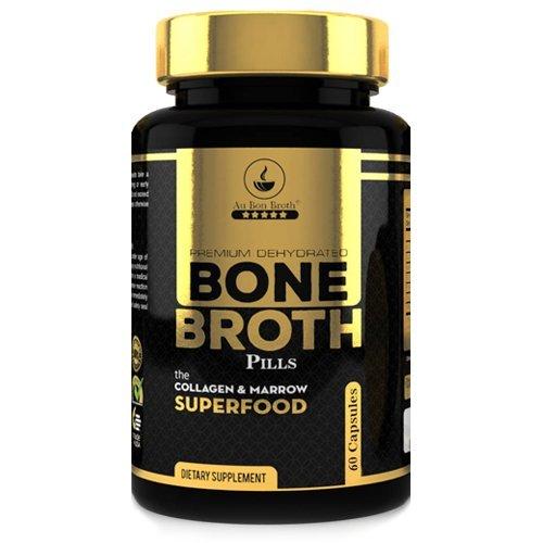 Bone Broth Protein Powder Superfood Capsules - Organic Dehydrated Grassfed Beef + Chicken Powder Blend Pills - Non-GMO - Collagen + Bone Broth Protein (60 Capsules Total)