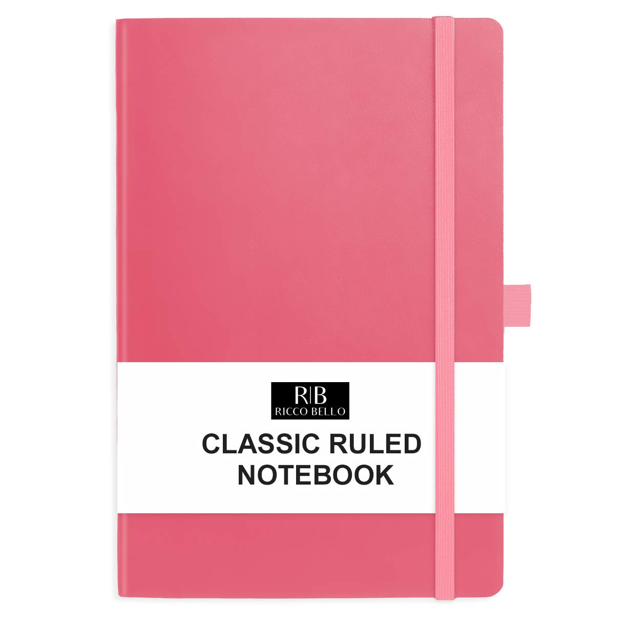RICCO BELLO Classic College Ruled Hardcover Journal Notebook, Elastic Band Closure, Pen Holder, Vegan Leather, 5.7 x 8.4 inches (Pink)