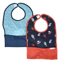 Nylon Travel Baby Bibs, Waterproof Bibs for Babies, Folds Up for Easy Clean-up, Clips to Stroller or Diaper Bag, Catches Mess with Bottom Pocket, 2-Pack Feeding Bibs, Space Out & Galaxy by Bazzle Baby