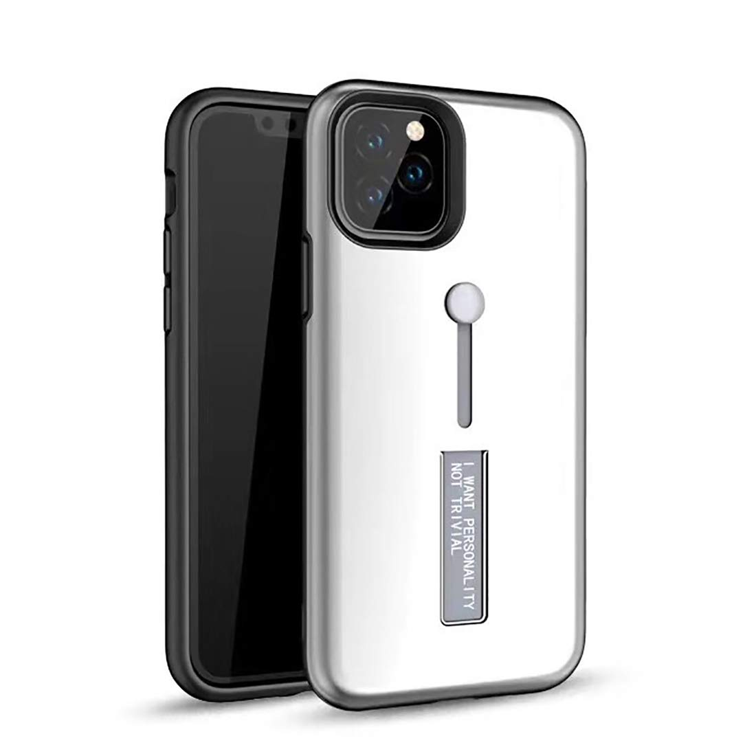 Seabaras iPhone 11 Pro Max Case,Finger Loop Strap Hide Stand Holder Kickstand Case for iPhone 11 Pro Max (Silver)