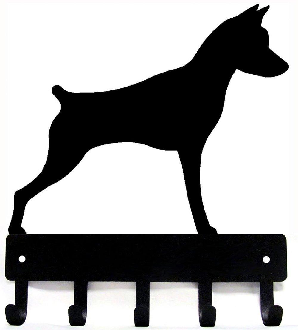 The Metal Peddler Miniature Pinscher Key Rack Dog Leash Hanger Large 9 inch Wide