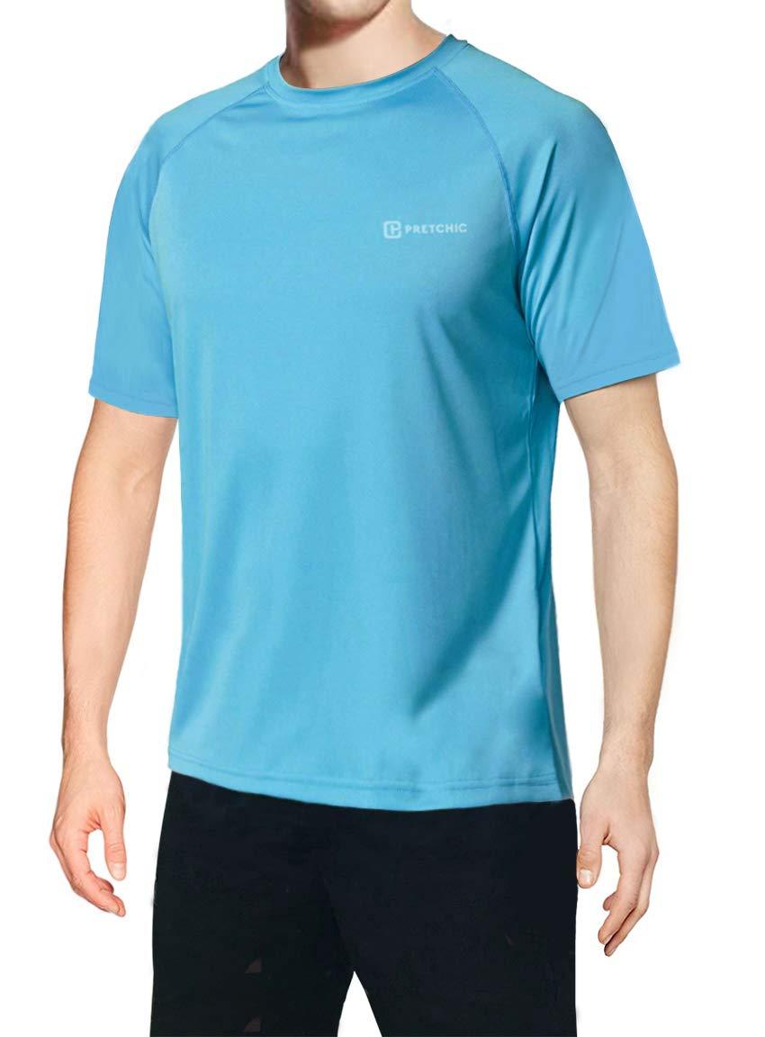 Pretchic Men's UV Sun Protection UPF 50+ Performance Short Sleeve T Shirt