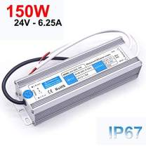 EAGWELL 150W LED Driver,Waterproof IP67 Power Supply 24V DC Transformer Durable Low Voltage Power Supply for LED Light, Computer Project, Industrial