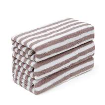 sense gnosis Hand Towels 100% Cotton Striped Towels with Hanging Loop Super Soft Highly Absorbent Machine Washable Body Towel for Bathroom 13 x 33 Inch (Brown) Set of 3