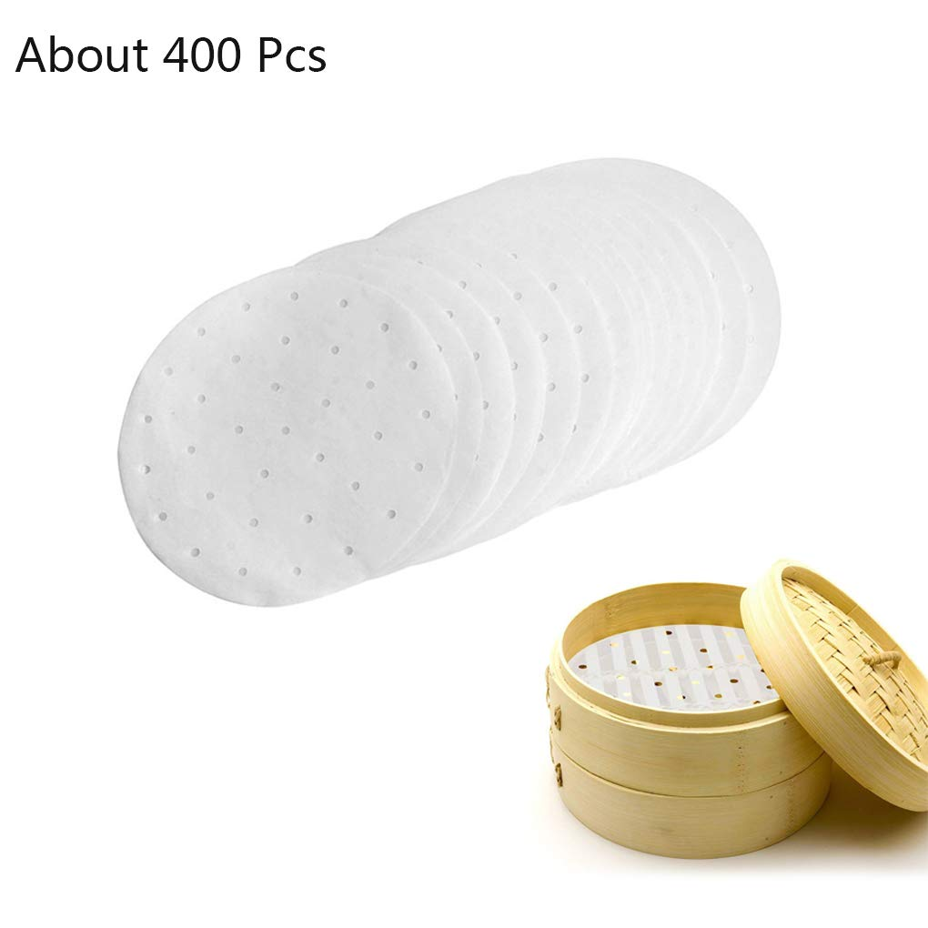 Rolin Roly 400Pcs Disposable Air Fryer Liners Non-stick Perforated Bamboo Steamer Paper Heat for Cooking Din Sim Baking 7.5 inch
