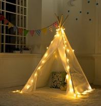 Revanak Fairy Lights for Teepee Tents - Battery Operated 4 LED Strings for Wedding Christmas Party, Waterproof Decorative Lights for Bedroom Camping, Kids Teepee Decoration Tent NOT Included