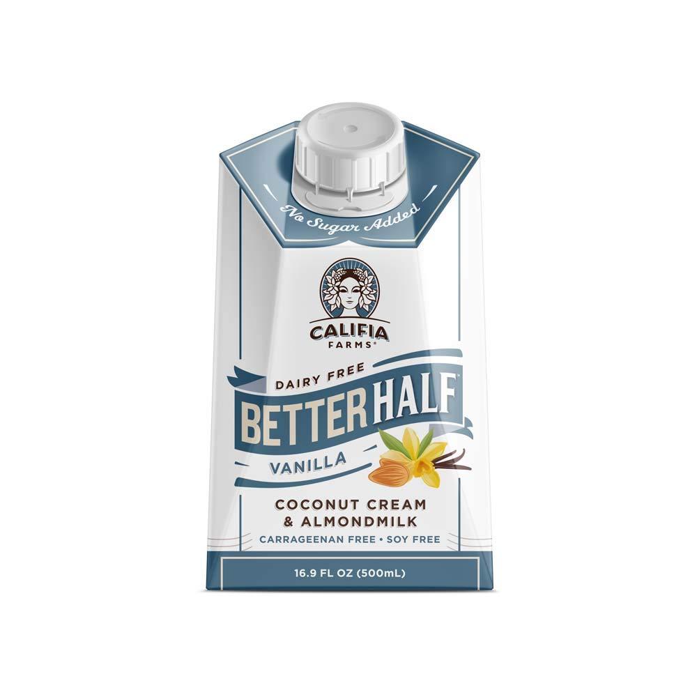Califia Farms - Vanilla Better Half Coffee Creamer, 16.9 Oz (Pack of 6)   Half and Half   Coconut Cream and Almond Milk   Non Dairy   Plant Based   Vegan   Keto  Sugar Free   Zero Carb   Shelf Stable
