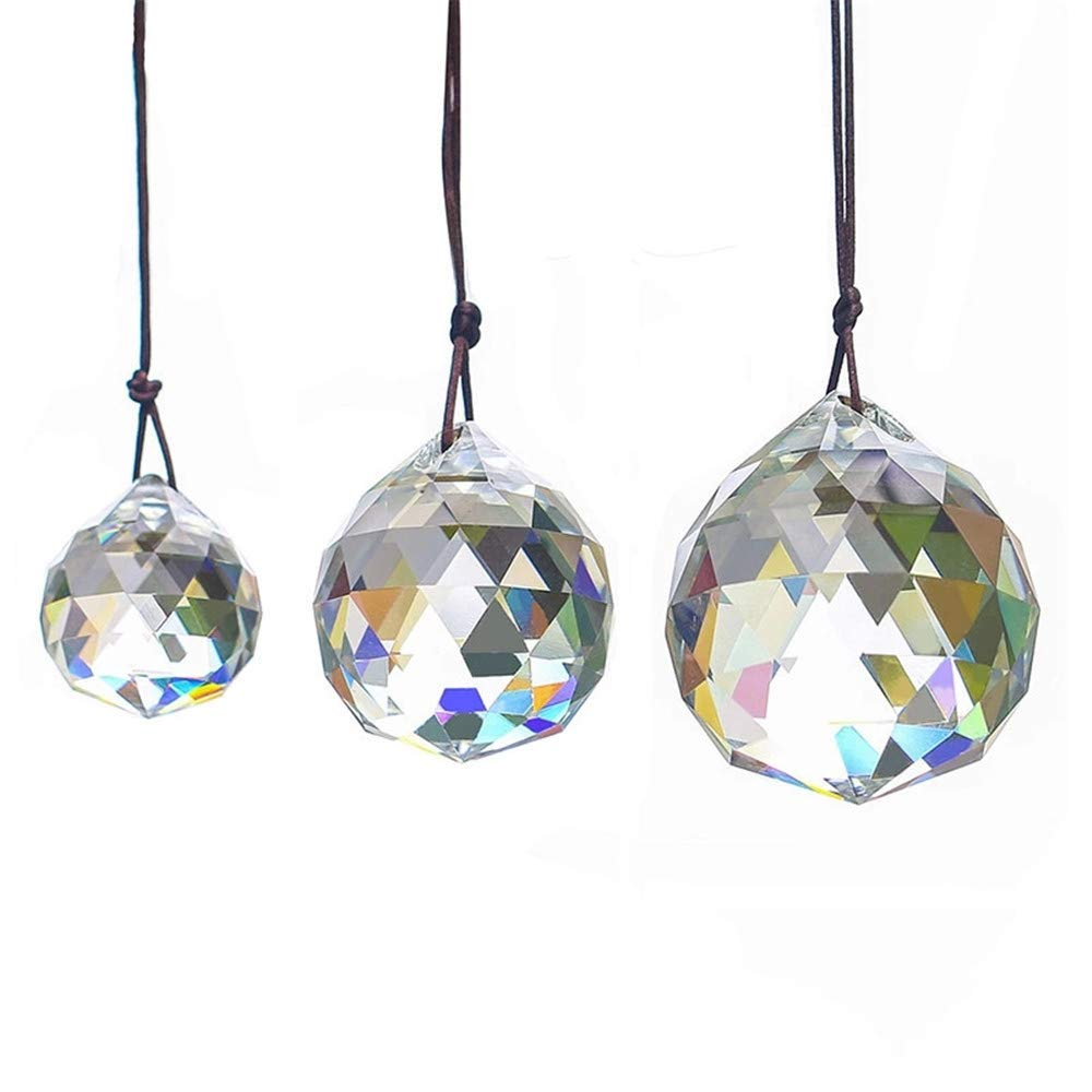 WEISIPU 3PCS Suncatcher Crystal - Clear Crystal Ball Prism Suncatcher Hanging Pendant Suncatcher Balls Rainbow Maker for Window, Garden(30/40/50MM)