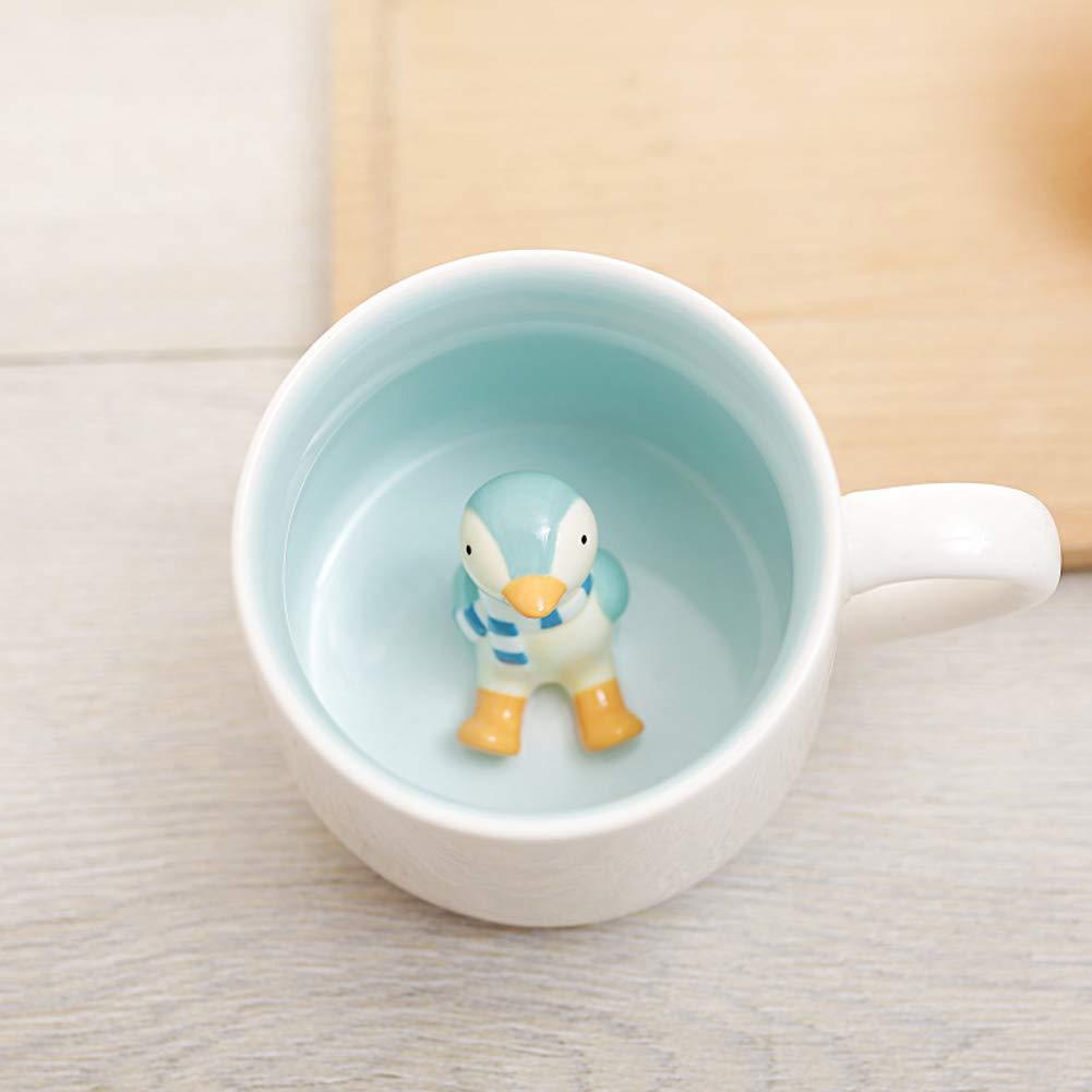 Hotmiss Dragon Surprise 3D Coffee Mug Cute Cartoon Animal Ceramics Cup Baby Animal Inside, Best Office Cup & Birthday Gift (Cute Penguin)